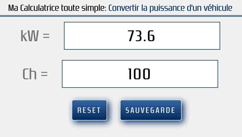 Comment calculer les kW en CV?